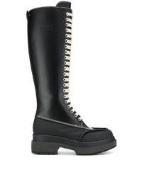 Stivali al ginocchio in pelle neri di MM6 MAISON MARGIELA