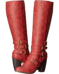 Stivali al ginocchio in pelle rossi