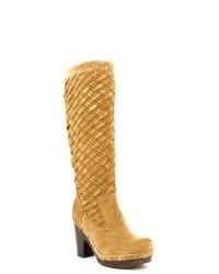 Stivali al ginocchio in pelle scamosciata marrone chiaro