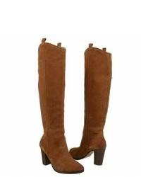Stivali al ginocchio in pelle scamosciata marroni