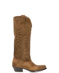 Stivali al ginocchio in pelle scamosciata marroni di Golden Goose Deluxe Brand