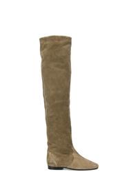 Stivali al ginocchio in pelle scamosciata marroni di Isabel Marant