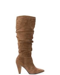 Stivali al ginocchio in pelle scamosciata marroni di Kennel + Schmenger
