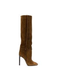 Stivali al ginocchio in pelle scamosciata marroni di Saint Laurent