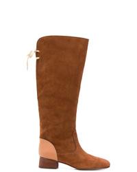 Stivali al ginocchio in pelle scamosciata marroni di See by Chloe