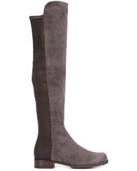 Stivali al ginocchio in pelle scamosciata marroni di Stuart Weitzman