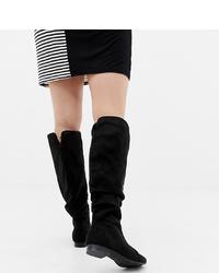 Stivali al ginocchio in pelle scamosciata neri di ASOS DESIGN