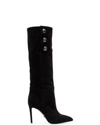 Stivali al ginocchio in pelle scamosciata neri di Balmain