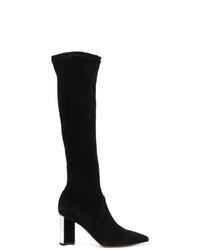 Stivali al ginocchio in pelle scamosciata neri di Clergerie