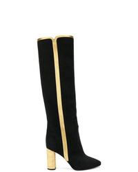 Stivali al ginocchio in pelle scamosciata neri di Saint Laurent