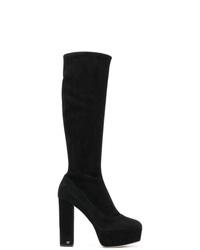 Stivali al ginocchio in pelle scamosciata neri di Sergio Rossi