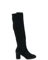 Stivali al ginocchio in pelle scamosciata neri di Stuart Weitzman