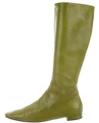 Stivali al ginocchio in pelle verde oliva
