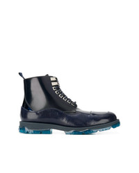 Stivali casual in pelle blu scuro di Jimmy Choo