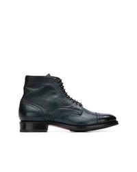 Stivali casual in pelle blu scuro di Santoni