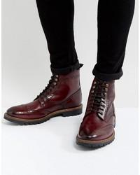 Stivali casual in pelle bordeaux di Base London