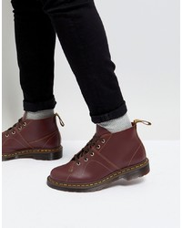 Stivali casual in pelle bordeaux di Dr. Martens