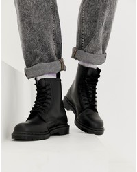 Stivali casual in pelle neri di Dr. Martens