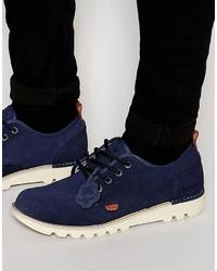 Stivali casual in pelle scamosciata blu scuro di Kickers