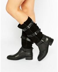 Stivali che arriva al ginocchio in pelle scamosciata neri di Asos