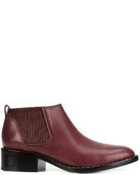 Stivali chelsea in pelle con borchie bordeaux di 3.1 Phillip Lim
