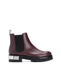 Stivali chelsea in pelle con borchie bordeaux di Alexander McQueen
