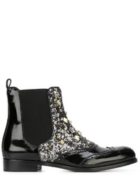 Stivali chelsea in pelle con borchie neri di Dolce & Gabbana