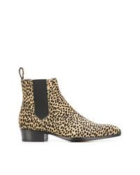Stivali chelsea in pelle leopardati marrone chiaro