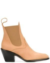 Stivali chelsea in pelle marrone chiaro di Chloé