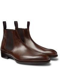 Stivali chelsea in pelle marrone scuro di Kingsman