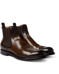 Stivali chelsea in pelle marrone scuro di Officine Creative