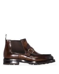 Stivali chelsea in pelle marrone scuro di Santoni