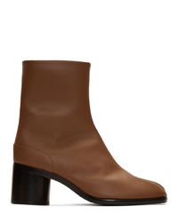 Stivali chelsea in pelle marroni di Maison Margiela