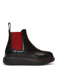 Stivali chelsea in pelle neri di Alexander McQueen
