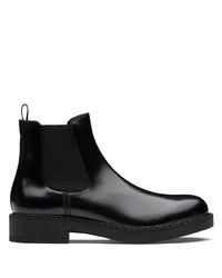 Stivali chelsea in pelle neri di Prada