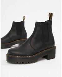 Stivali chelsea in pelle pesanti neri di Dr. Martens