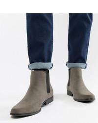 Stivali chelsea in pelle scamosciata grigi di ASOS DESIGN