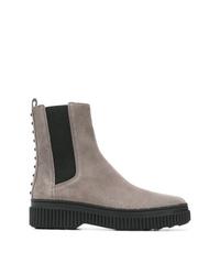 Stivali chelsea in pelle scamosciata grigi di Tod's