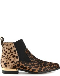 Stivali chelsea in pelle scamosciata leopardati marrone chiaro di Chloé