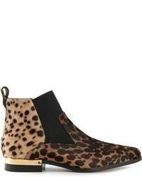 Stivali chelsea in pelle scamosciata leopardati marroni di Chloé