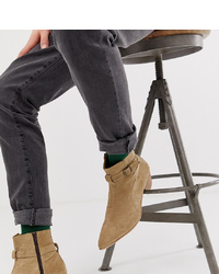 Stivali chelsea in pelle scamosciata marrone chiaro di ASOS DESIGN