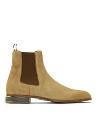 Stivali chelsea in pelle scamosciata marrone chiaro di Christian Louboutin