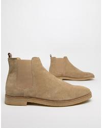 Stivali chelsea in pelle scamosciata marrone chiaro di WALK LONDON