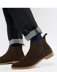 Stivali chelsea in pelle scamosciata marrone scuro di ASOS DESIGN