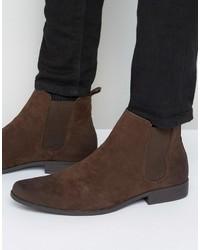 Stivali chelsea in pelle scamosciata marrone scuro di Asos