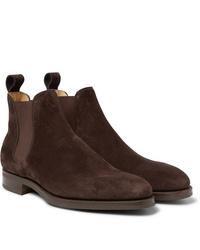 Stivali chelsea in pelle scamosciata marrone scuro di Edward Green