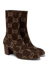 Stivali chelsea in pelle scamosciata marrone scuro di Gucci