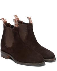 Stivali chelsea in pelle scamosciata marrone scuro di R.M. Williams