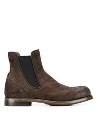 Stivali chelsea in pelle scamosciata marrone scuro di Silvano Sassetti
