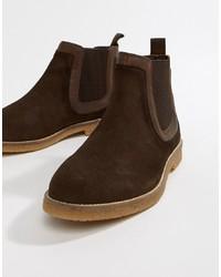 Stivali chelsea in pelle scamosciata marrone scuro di Silver Street